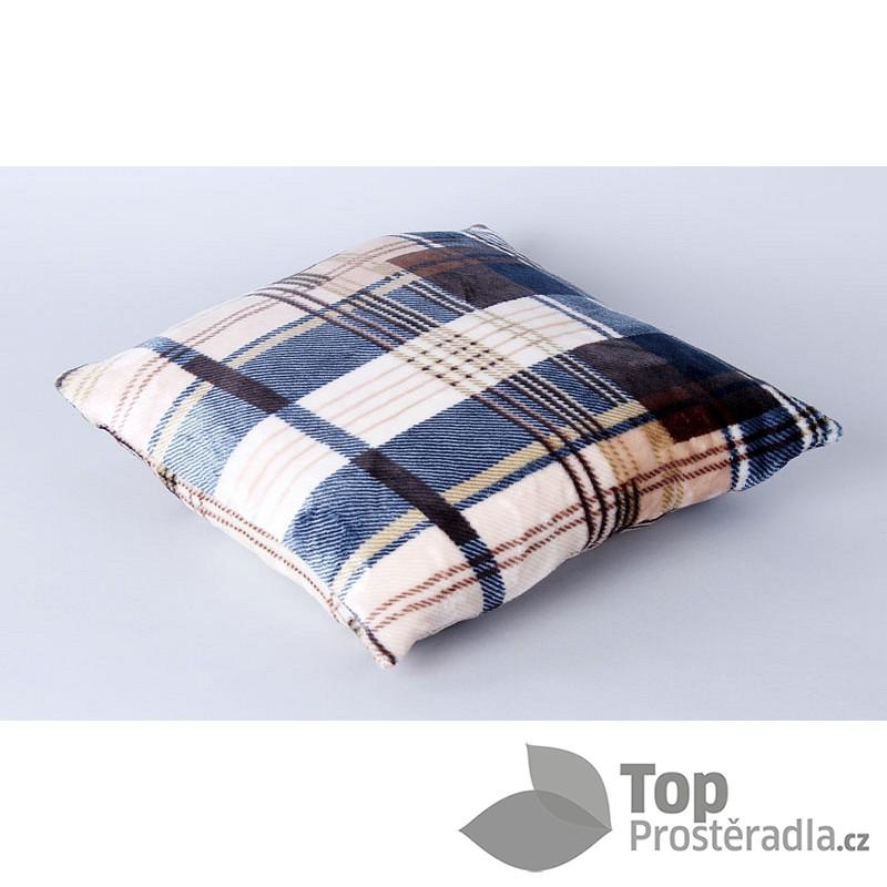 Povlak na polštářek mikroflanel - Modré káro    TopProstěradla.cz 4306143508c