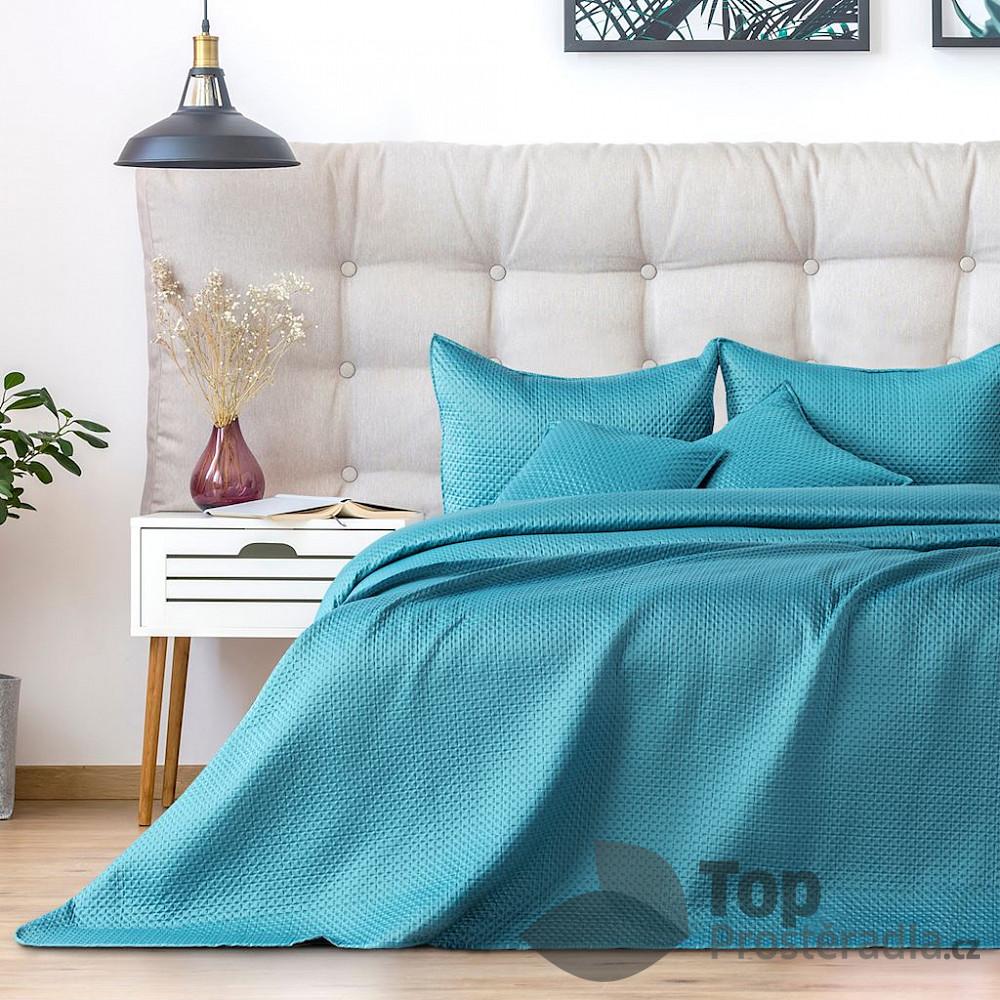 TOP Dekorační přehoz na postel CARMEN 240x260 - Tyrkysový