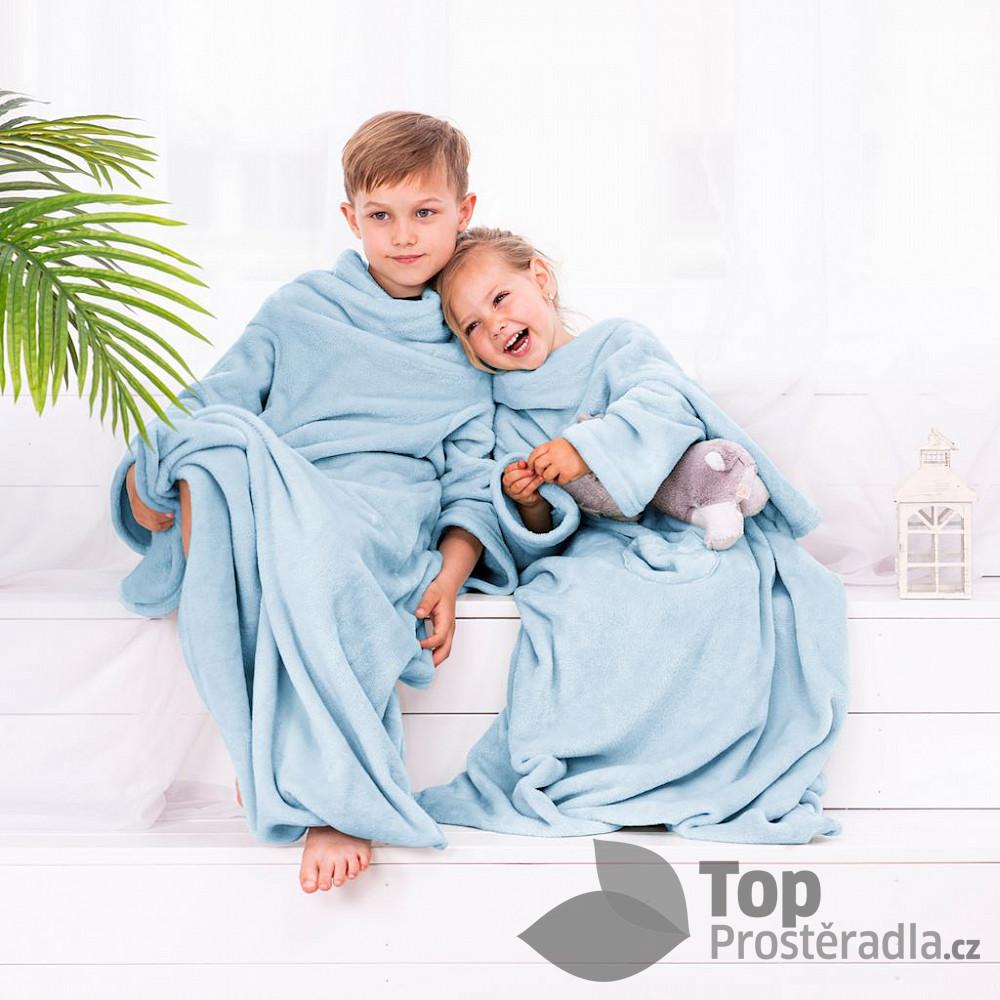 TOP Dětská mikroflanelová televizní deka LazyKids 90x105 - Světle modrá
