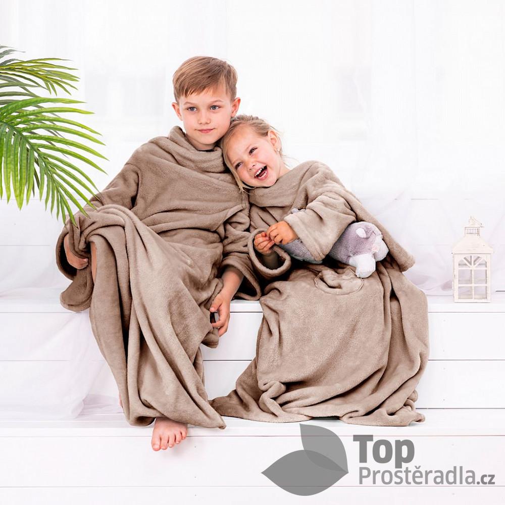 TOP Dětská mikroflanelová televizní deka LazyKids 90x105 - Béžová