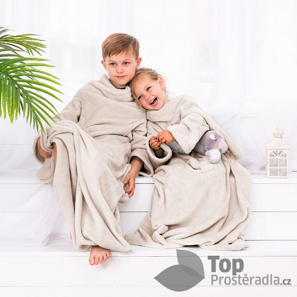 TOP Dětská mikroflanelová televizní deka LazyKids 90x105 - Krémová