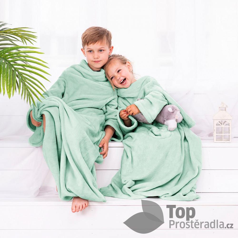 TOP Dětská mikroflanelová televizní deka LazyKids 90x105 - Mentolová