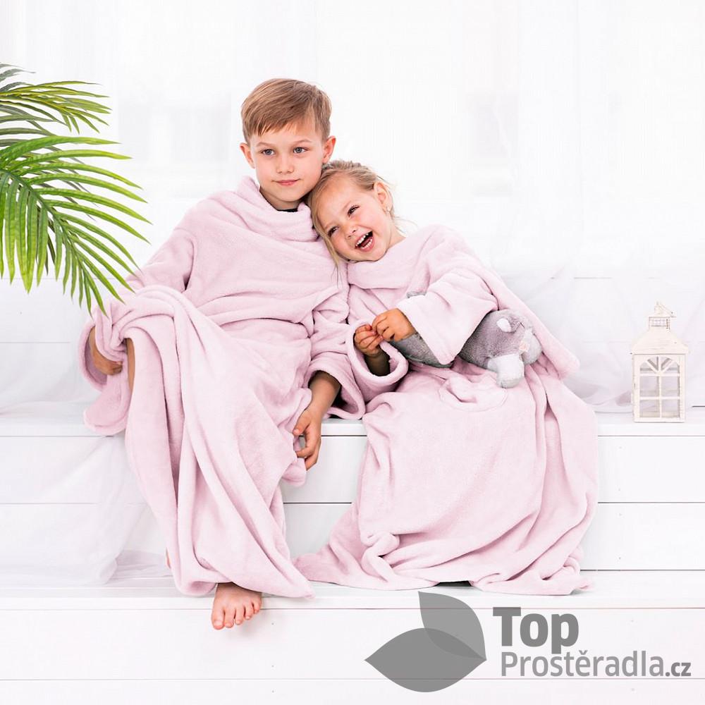 TOP Dětská mikroflanelová televizní deka LazyKids 90x105 - Růžová