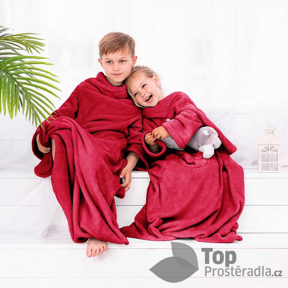 TOP Dětská mikroflanelová televizní deka LazyKids 90x105 - Červená