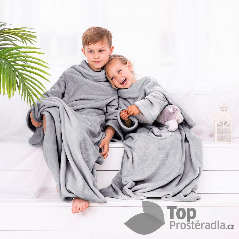 TOP Dětská mikroflanelová televizní deka LazyKids 90x105 - Šedá