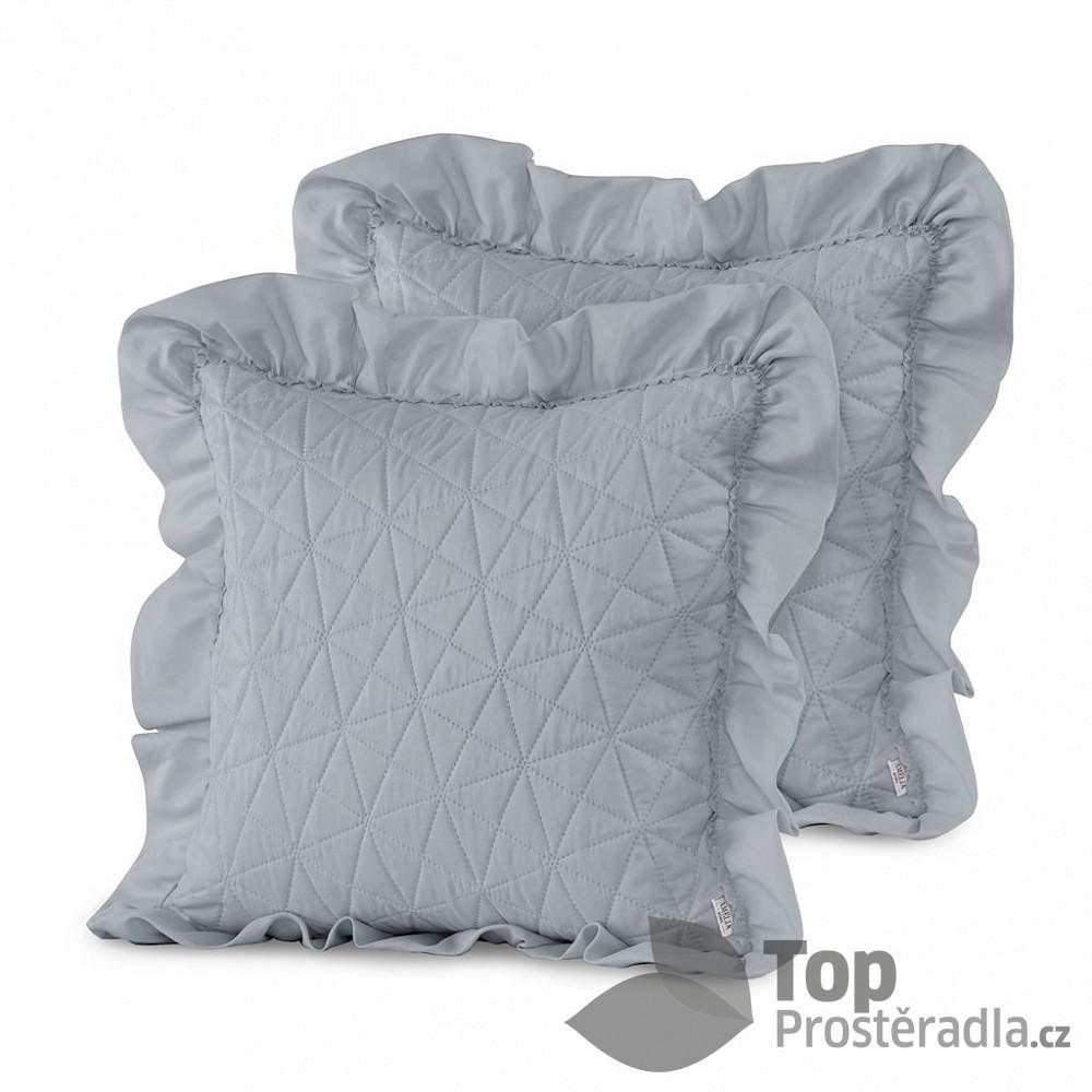 Levně TOP Povlak na polštářek TILIA 45x45 prošívaný s límcem 1 ks - Šedý