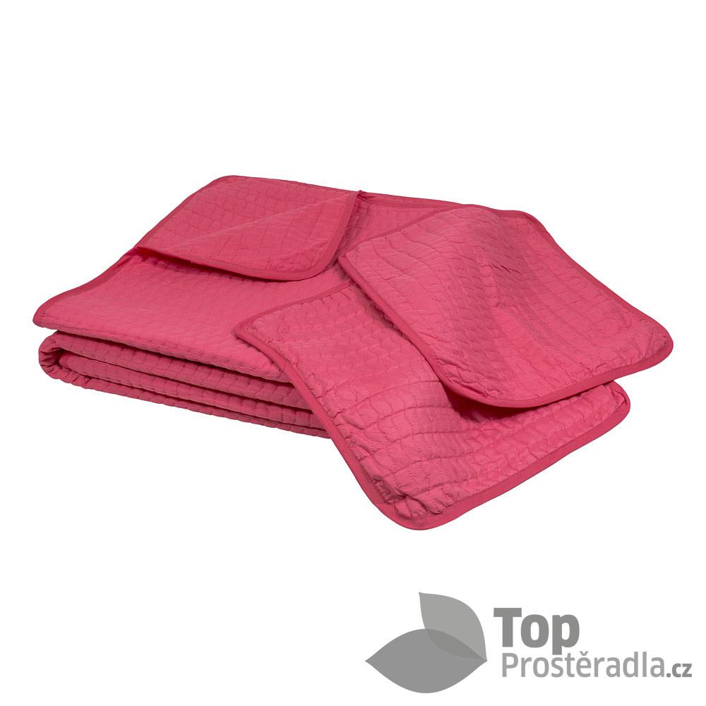 Levně TOP Přehoz na postel s povlaky na polštářky 220x240 + 2x 40x40 Růžová