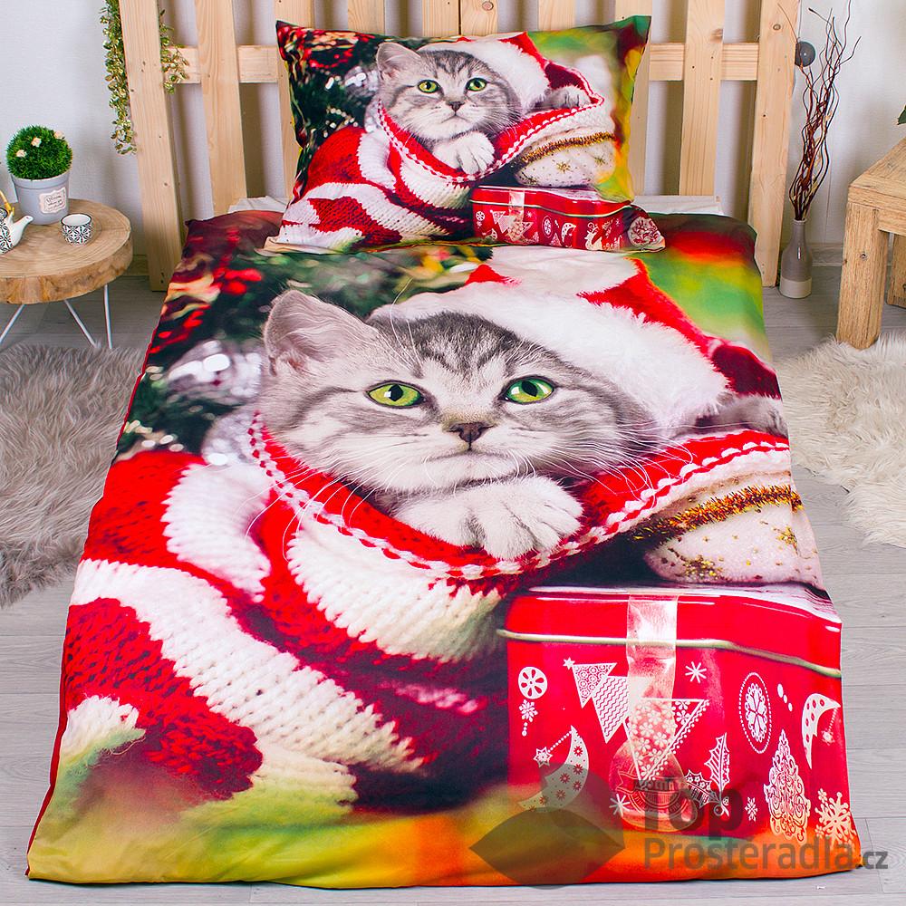 TP 3D povlečení 140x200 + 70x90 - Christmas Kitty