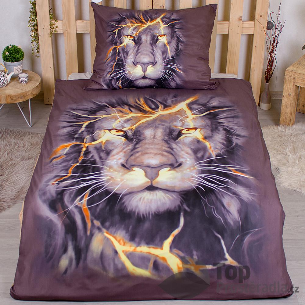 TOP 3D povlečení 140x200 70x90 Thunder lion