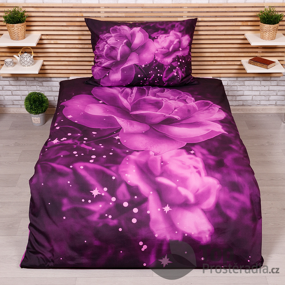 TP 3D povlečení 140x200+70x90 - Purple rose