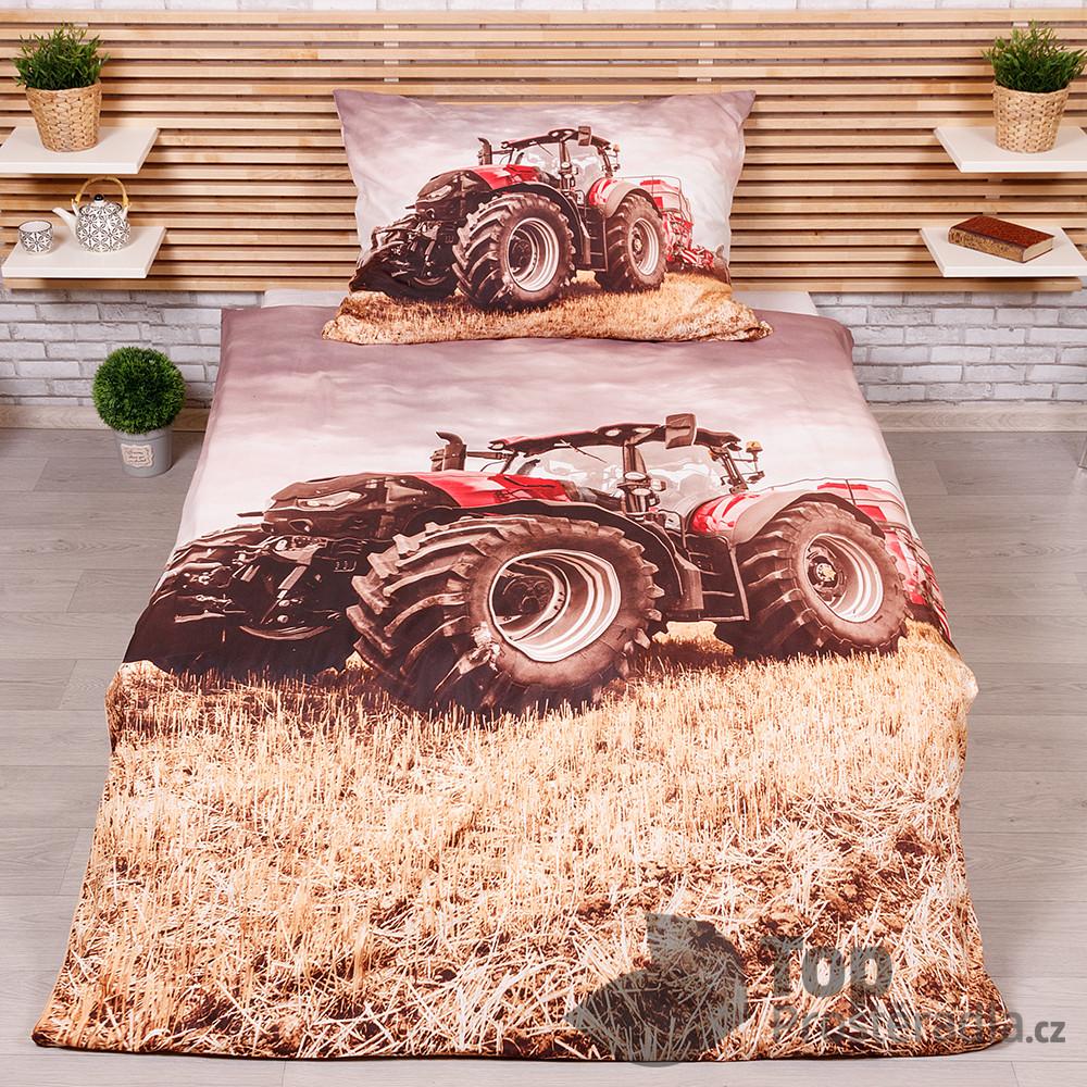 TP 3D povlečení 140x200+70x90 - Traktor červený