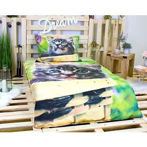 3D povlečení bavlna 140x200 + 70x90 - Kotě Mourek