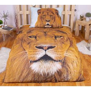 3D povlečení bavlna 140x200 + 70x90 - Lev
