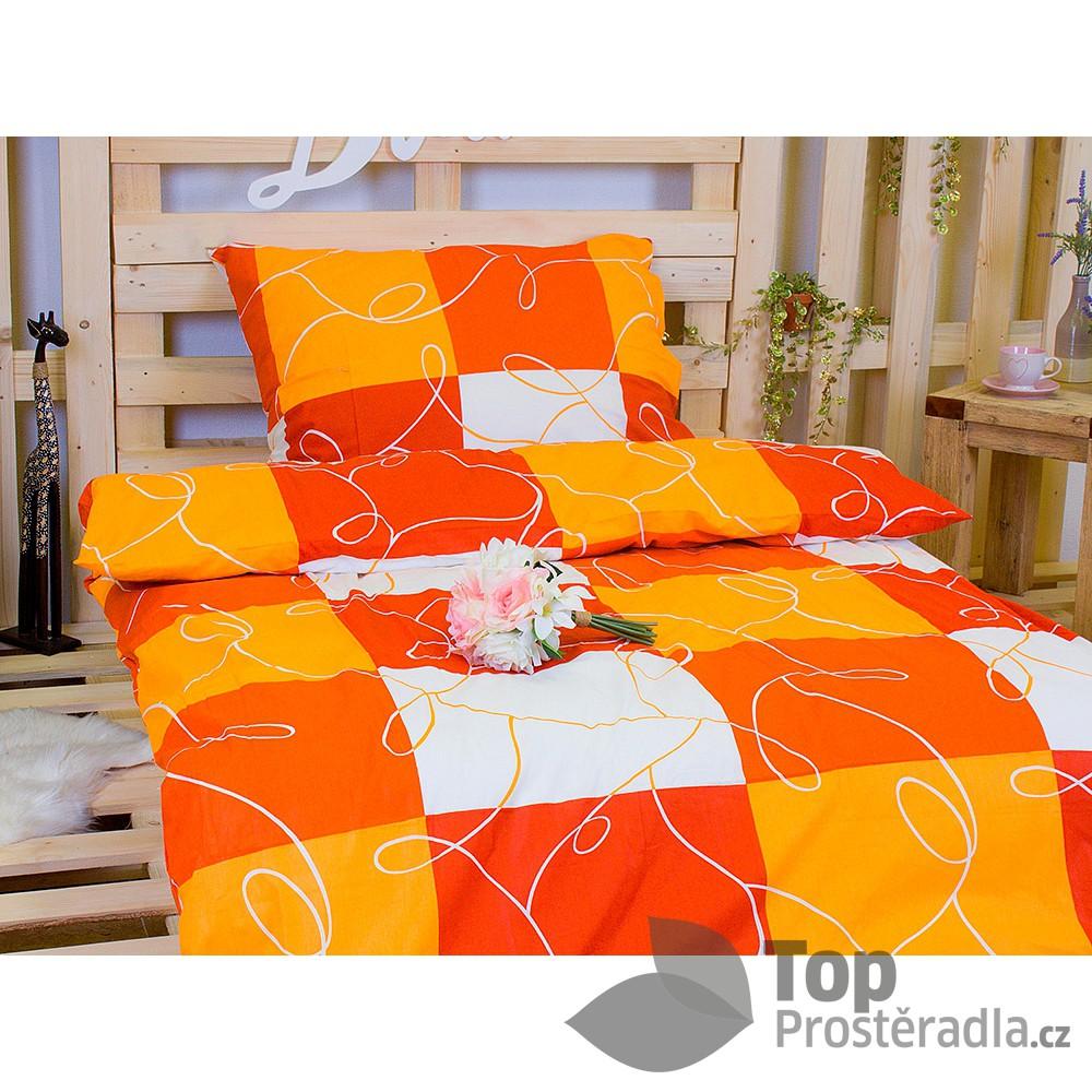 TP Bavlněné povlečení 140x200 70x90 Oranžové šachy