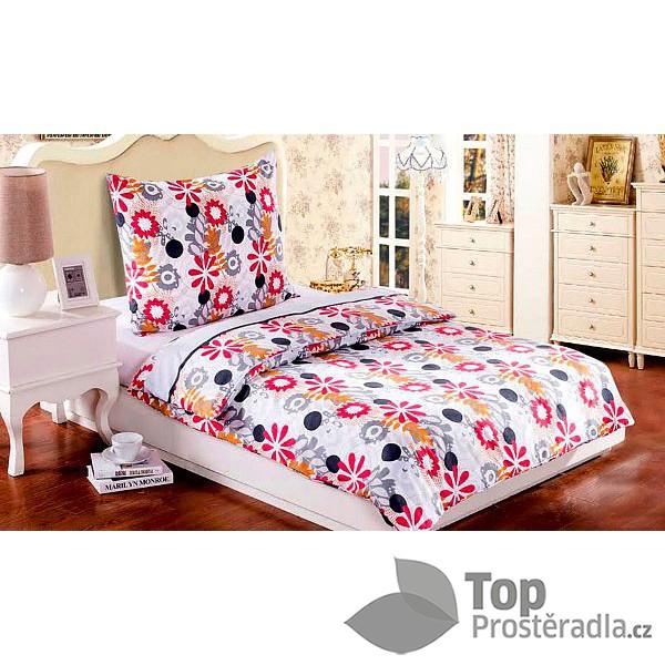 TOP povlečení Easy 140x200 70x90 Červeno-šedé květy Mikrokrep