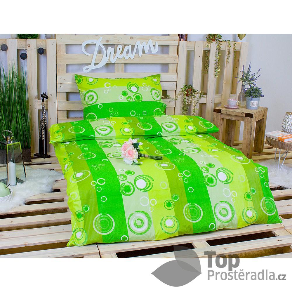 TP Bavlněné povlečení 140x200+70x90 Zelené bubliny