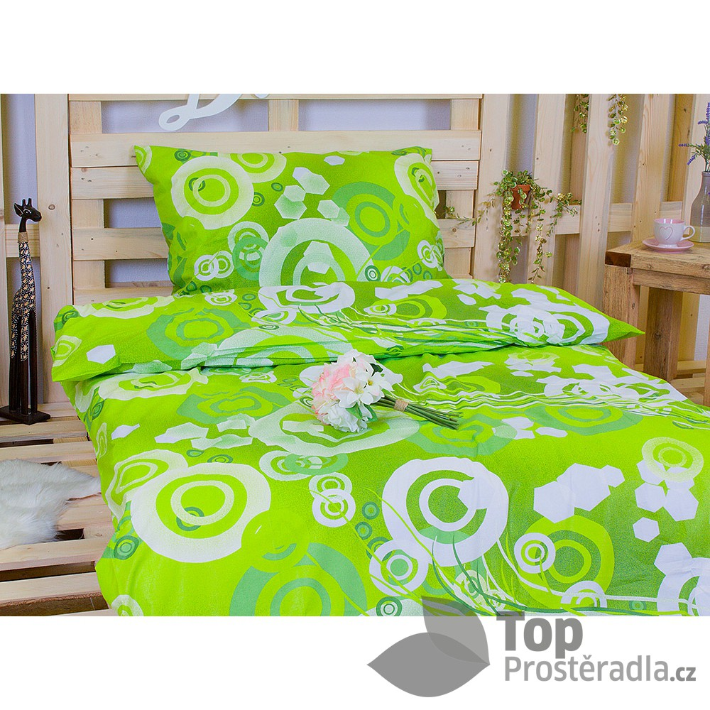 TOP Bavlněné povlečení kruhy zelené 140x200 70x90