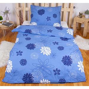 Bavlněné povlečení květinová variace modrá 140x200+70x90