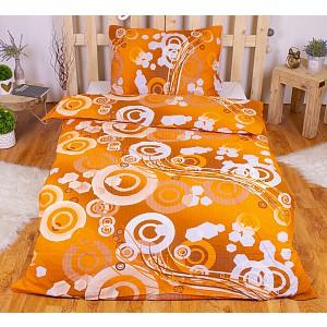 Krepové povlečení kruhy oranžové 140x200+70x90