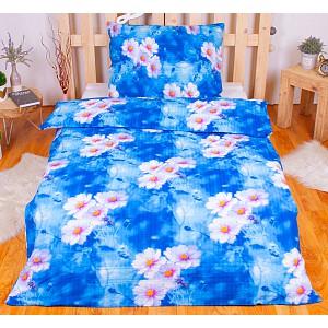 Krepové povlečení květiny modré 140x200+70x90