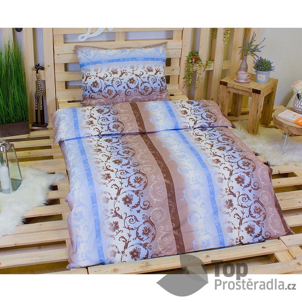 TOP Krepové povlečení ornament modrý 140x200 70x90