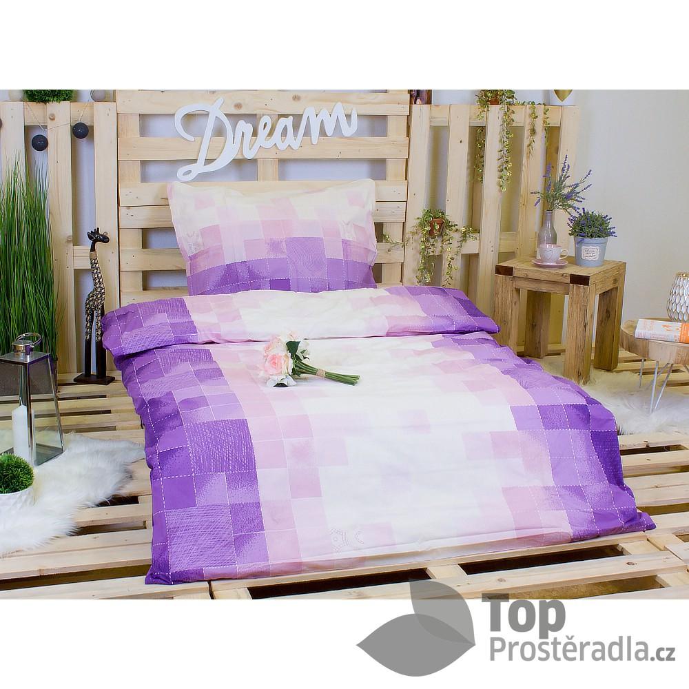 TOP Bavlněné povlečení kostičky fialové 140x200 70x90