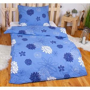 Krepové povlečení květinová variace modrá 140x200+70x90