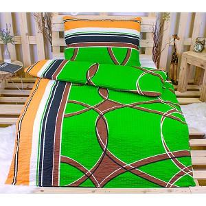 Krepové povlečení polokruh zelený 140x200 70x90
