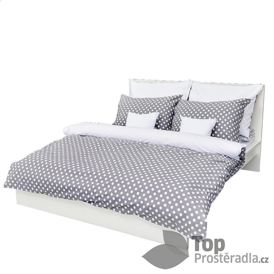 TOP Krepové povlečení puntík šedý 140x200 70x90
