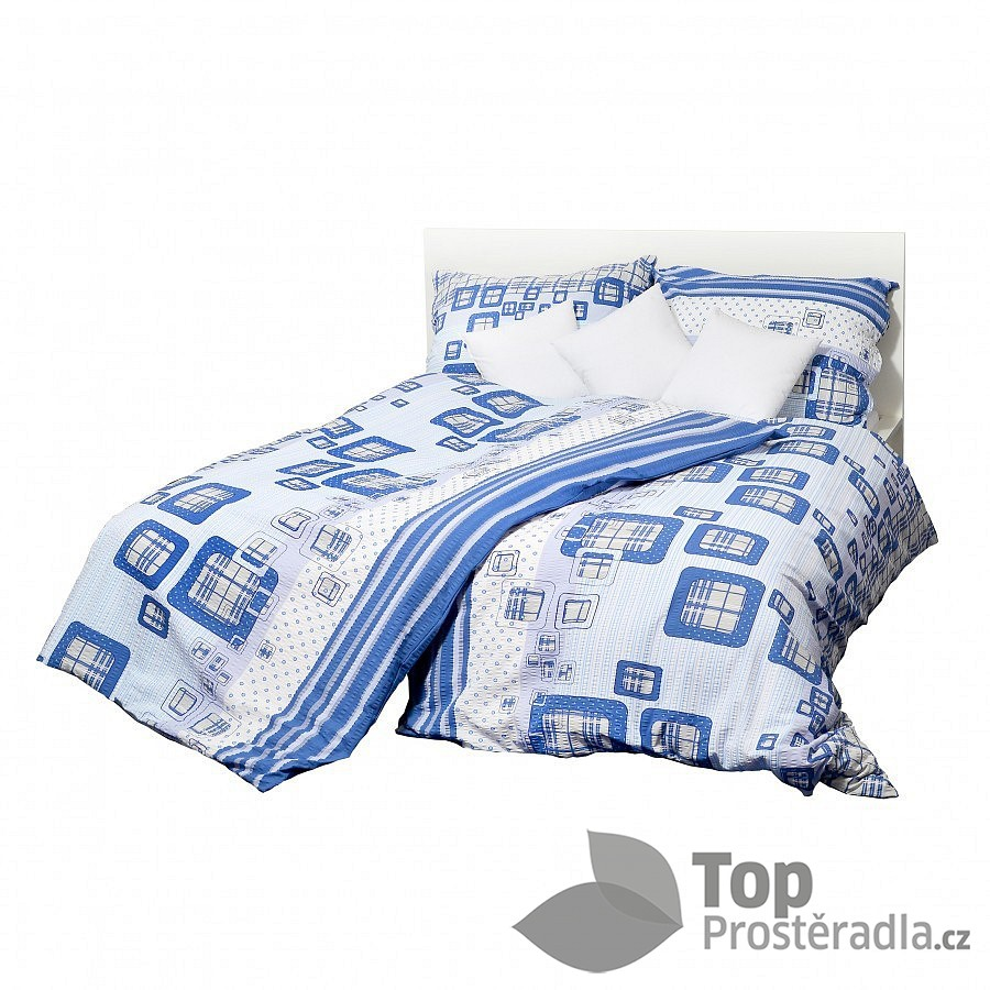 TOP Krepové povlečení káro modré 140x220 70x90