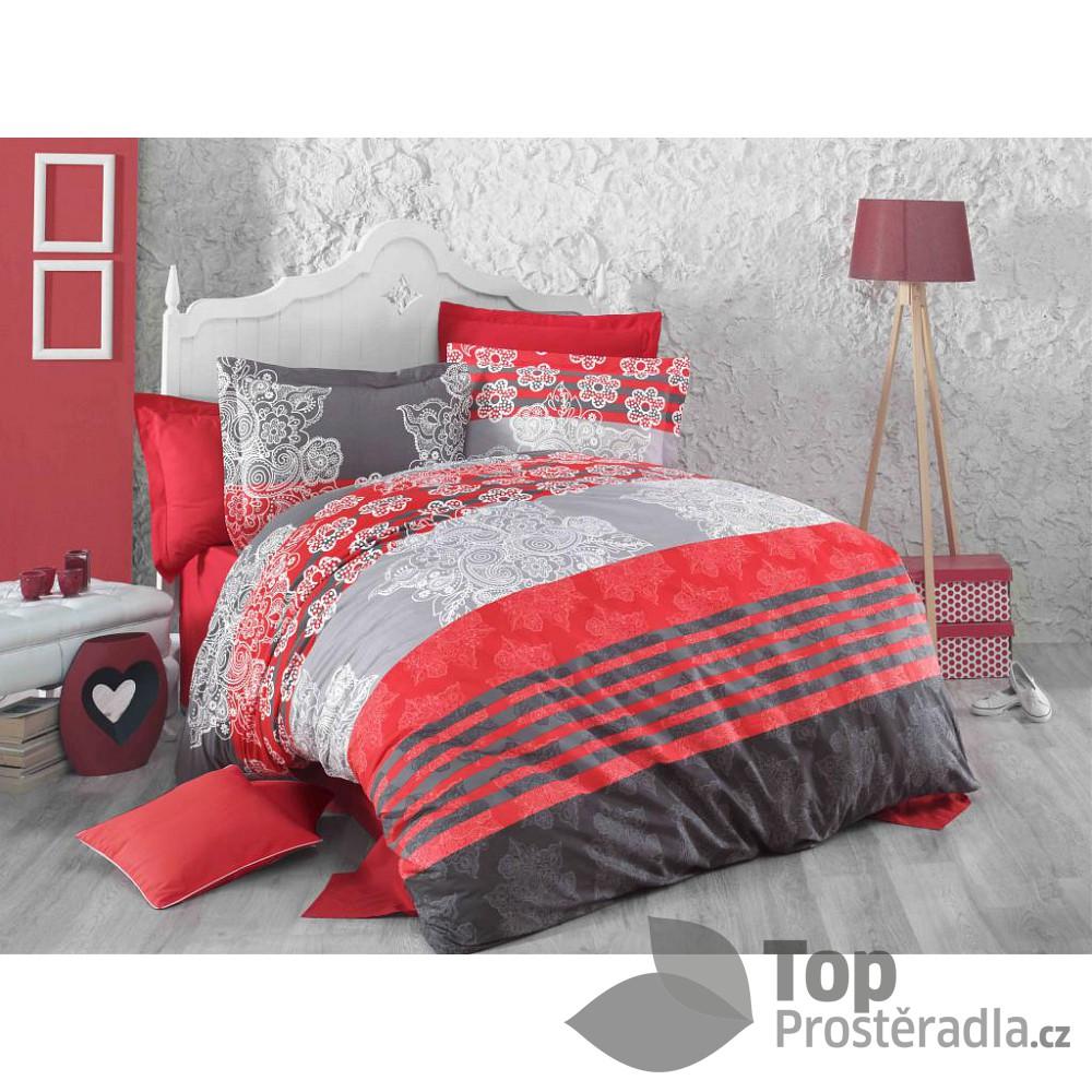 TOP Bavlněné povlečení DELUX RED STRIPES 140x200 70x90