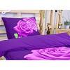 3D povlečení 140x200 + 70x90 - Růže fialová