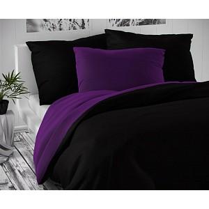 Saténové prodloužené povlečení LUXURY COLLECTION 140x220+70x90cm černé / tmavě fialové