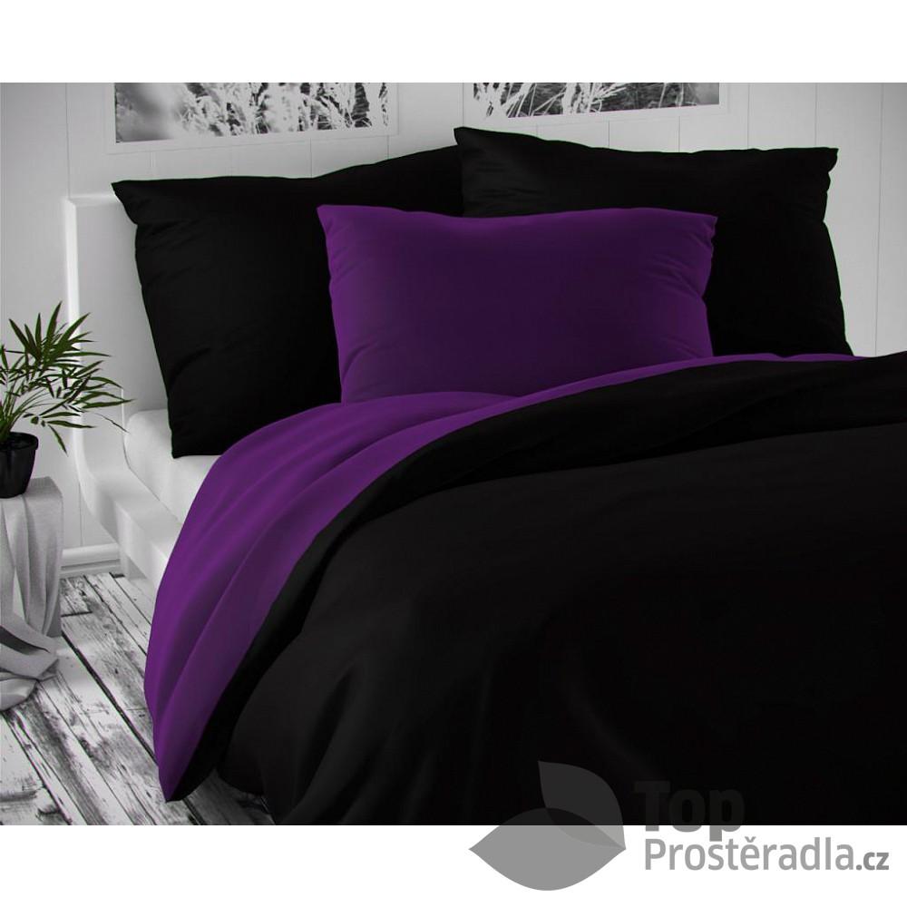 TOP Saténové francouzské povlečení LUXURY COLLECTION 220x200+2x70x90cm černé / tmavě fialové