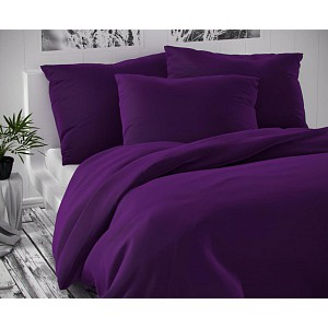 Saténové prodloužené povlečení LUXURY COLLECTION 140x220+70x90cm tmavě fialové