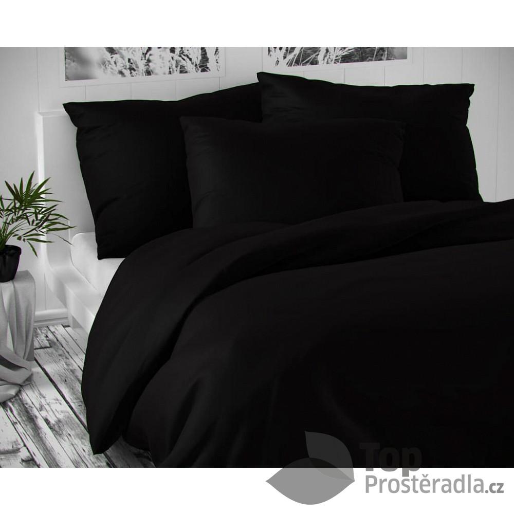 TOP Saténové francouzské povlečení LUXURY COLLECTION 220x200+2x70x90cm černé