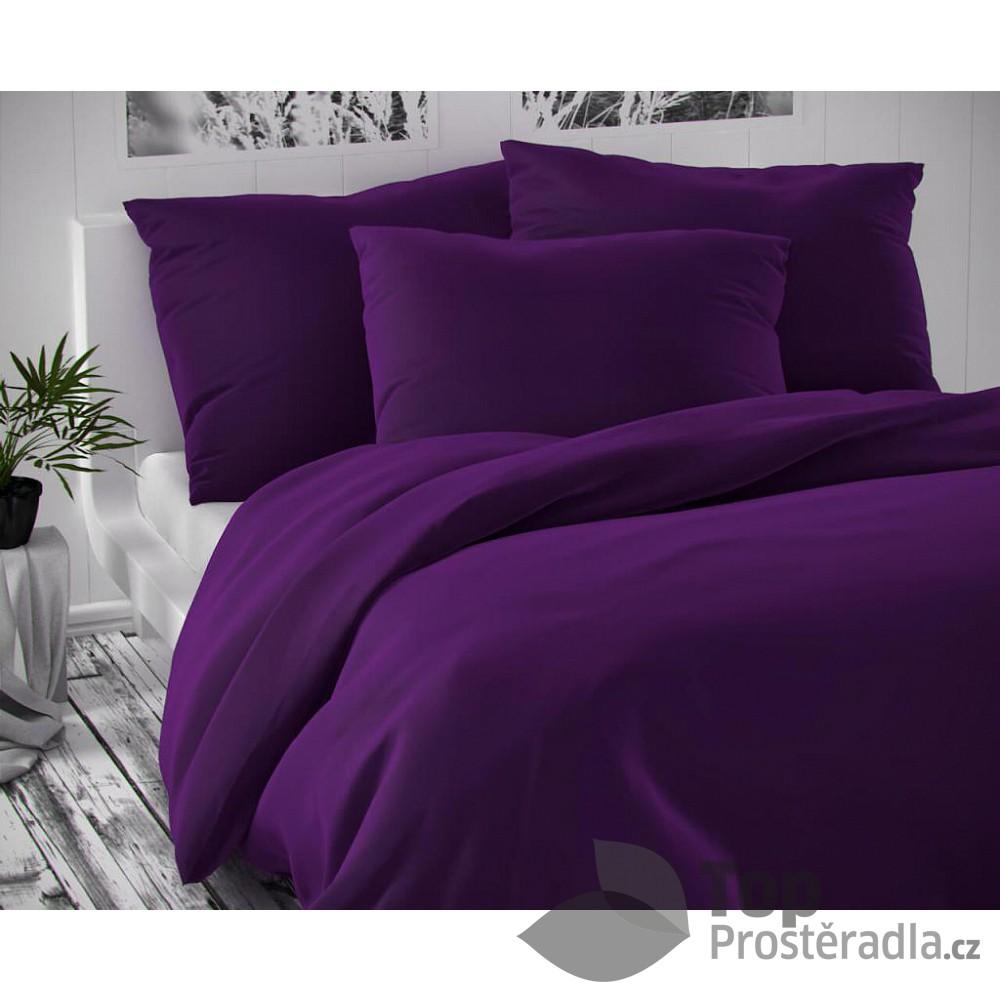 TOP Saténové francouzské povlečení LUXURY COLLECTION 220x200+2x70x90cm tmavě fialové