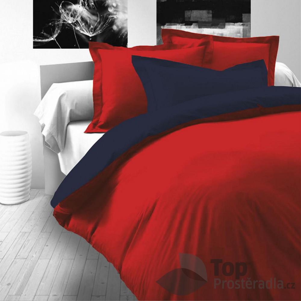 TOP Saténové povlečení LUXURY COLLECTION 140x200+70x90cm červené / tmavě modré