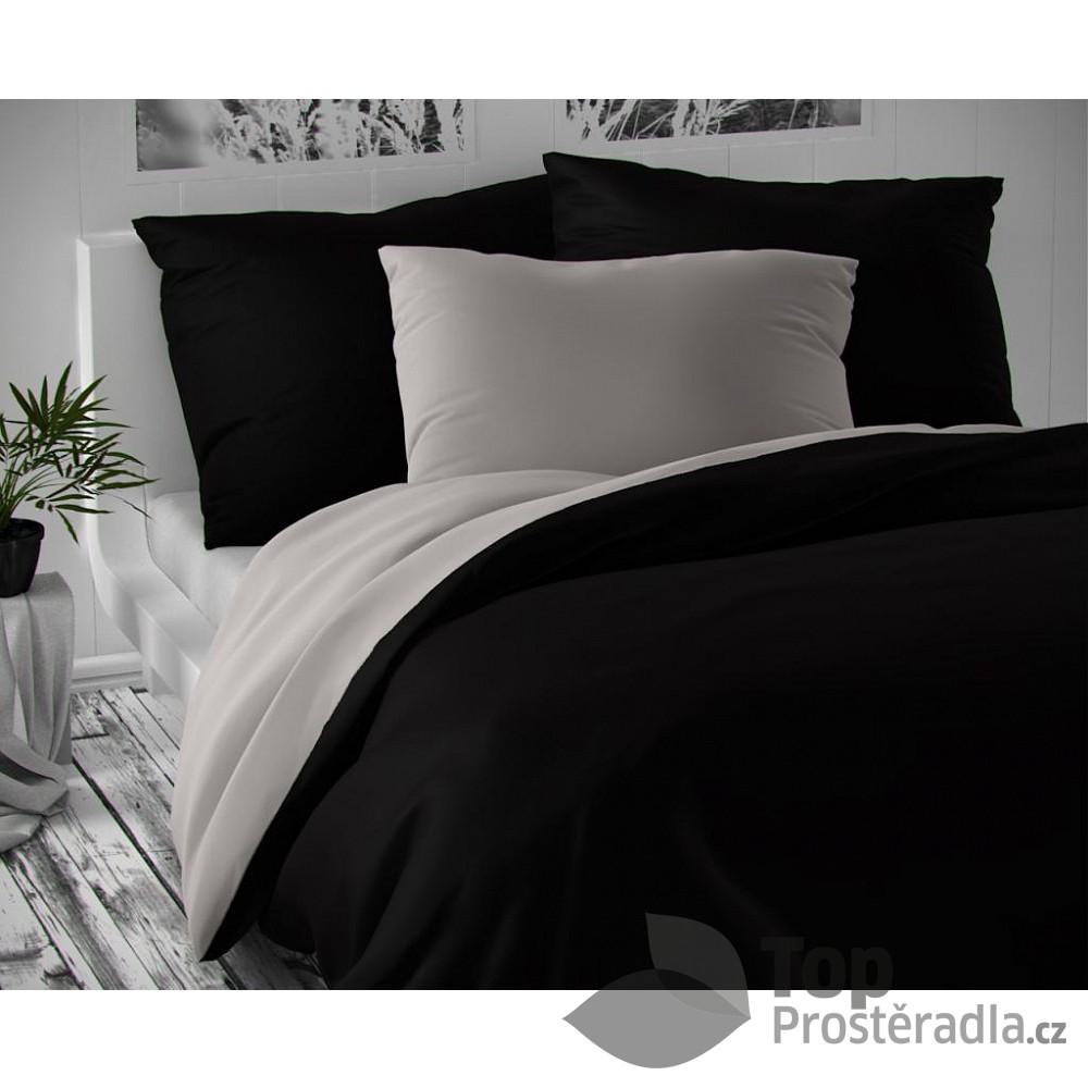 TOP Saténové francouzské povlečení LUXURY COLLECTION 220x200+2x70x90cm černé / světle šedá