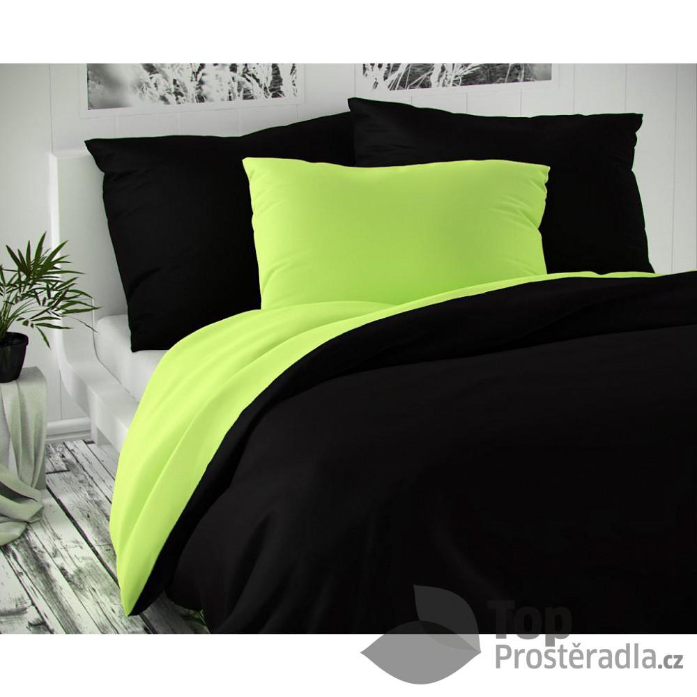 TOP Saténové francouzské povlečení LUXURY COLLECTION 220x200+2x70x90cm černé / světle zelené