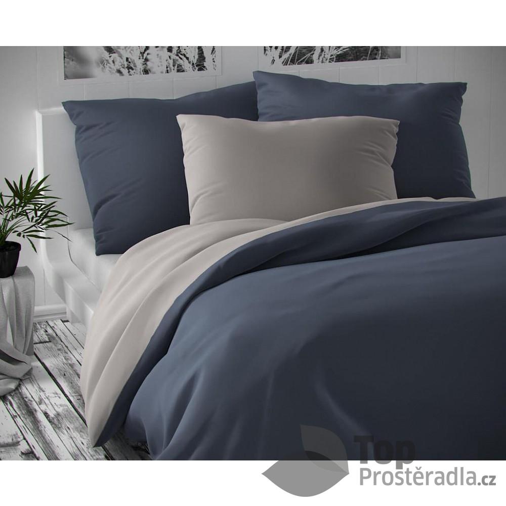 TOP Saténové francouzské povlečení LUXURY COLLECTION 220x200+2x70x90cm tmavě šedé / světle šedé