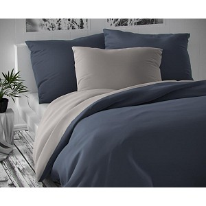 Saténové francouzské povlečení LUXURY COLLECTION 220x200+2x70x90cm tmavě šedé / světle šedé