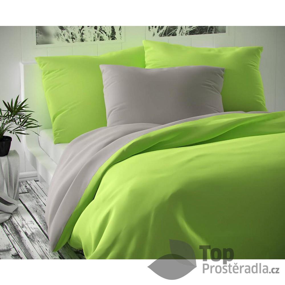 TOP Saténové francouzské povlečení LUXURY COLLECTION 220x200+2x70x90cm světle šedé / světle zelené