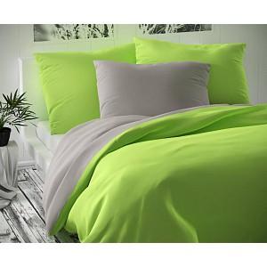 Saténové prodloužené povlečení LUXURY COLLECTION 140x220+70x90cm světle šedé / světle zelené