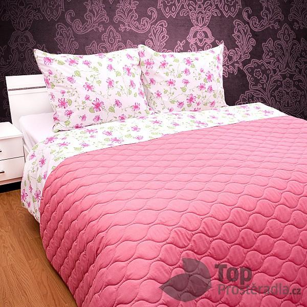 TOP Prošívaný dekorační přehoz 260x230 růžová