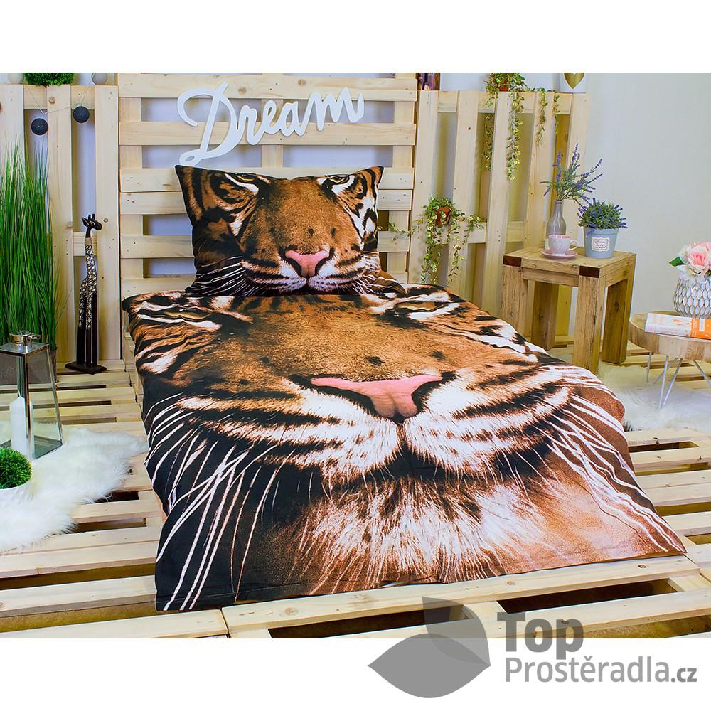 Jerry Fabrics 3D povlečení bavlna 140x200 70x90 Tygr