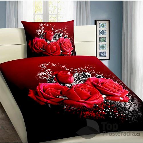 3D povlečení 140x200 + 70x90 - Rudá růže