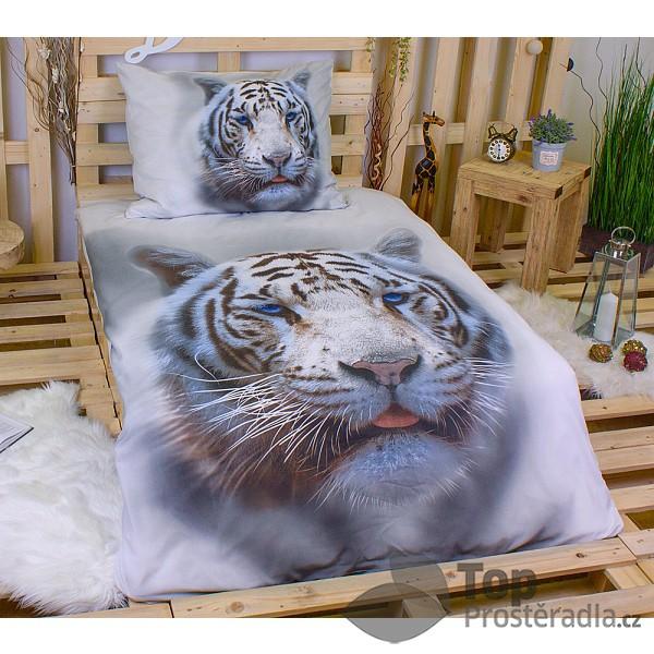 3D povlečení 140x200 + 70x90 - White tiger