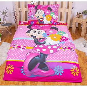 Dětské bavlněné povlečení Minnie Flowers 140x200+70x90