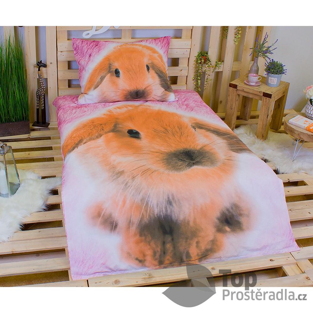 Jerry Fabrics 3D povlečení bavlna 140x200 + 70x90 - Králíček